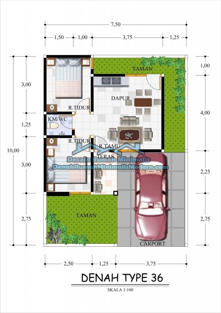 gambar denah rumah sederhana type 36 3