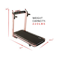 """51"""" long x 19"""" wide running deck on Sunny Health & Fitness Asuna SpaceFlex 7750P & 7750 Electric Treadmills, image, dimensions"""