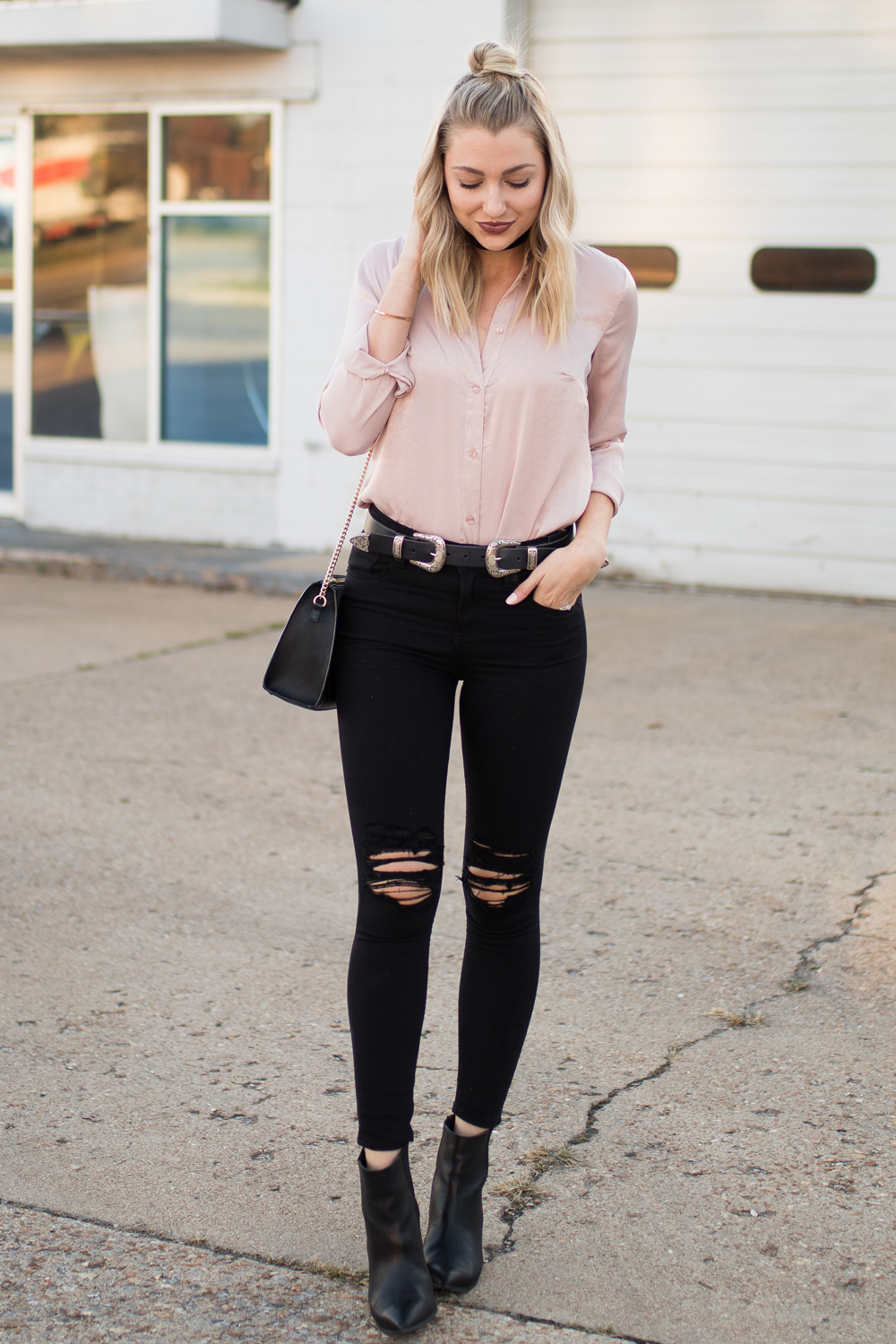 Black distressed skinny jeans from Express