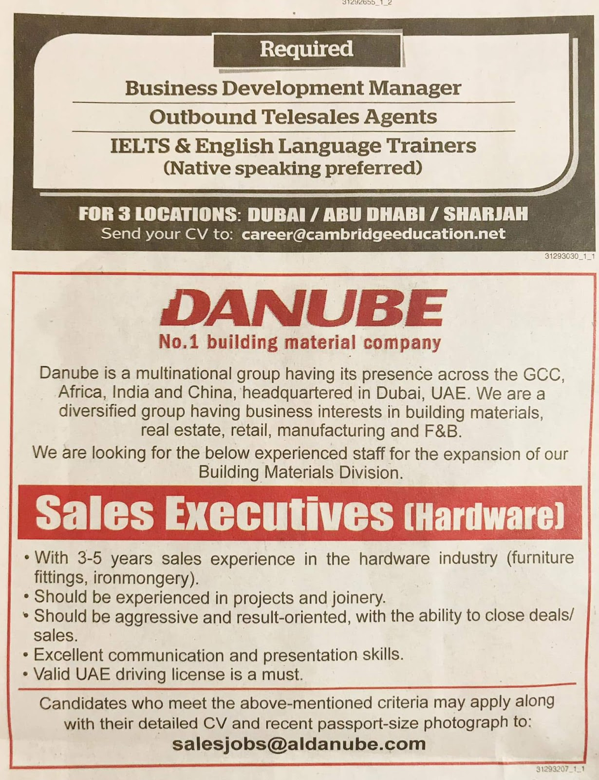 Required SALES EXECUTIVE FOR UAE JOBS LOCAL HIRING KHALEEJ TIMES-UAE