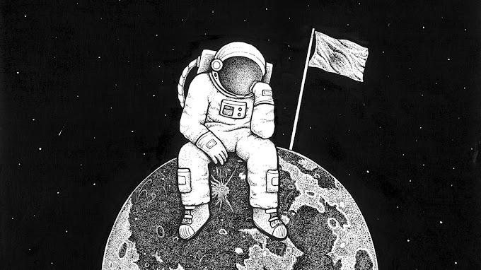 Astronauta, Lua, Bandeira, Espaço