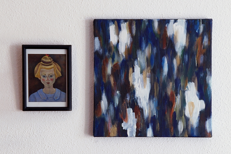 Framed Mirò postcard and abstract painting on canvas by me in matching colours on my wall