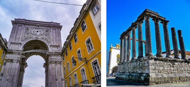 Portugal, Arco da Augusta, em Lisboa, e Templo de Diana, em Évora