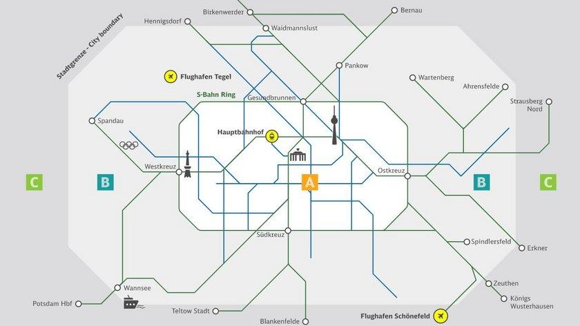 Berlin ABC 交通票價分區圖