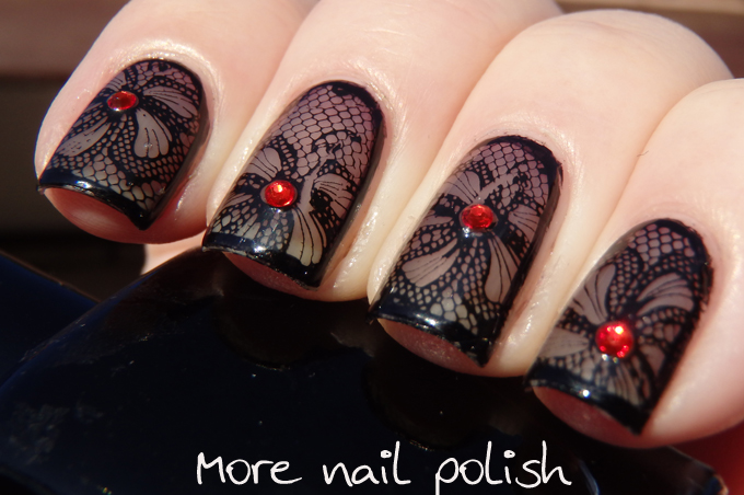 Black Lace With Messy Mansion Mm44 More Nail Polish