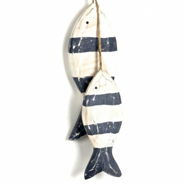 Wooden Hanging Fishes on Rope Wall Decor