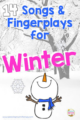 Fun fingerplays and songs that are perfect language development activities for winter speech therapy. The fun rhythm and rhymes will boost vocabulary and listening with your preschoolers and in kindergarten too.  #speechsprouts #speechtherapy #speechandlanguage #fingerplays #preschoolsongs #preschoolwinter