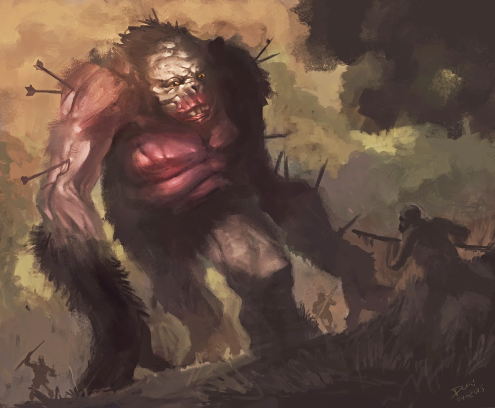 big foot, douglas deri, conceptart, characterdesign, roleplay, rpg, illustration, ilustracao, monster,monstro, prehistoric bigfoot, how to paint, photoshop brushes, brushes, how to draw, como desenhar,