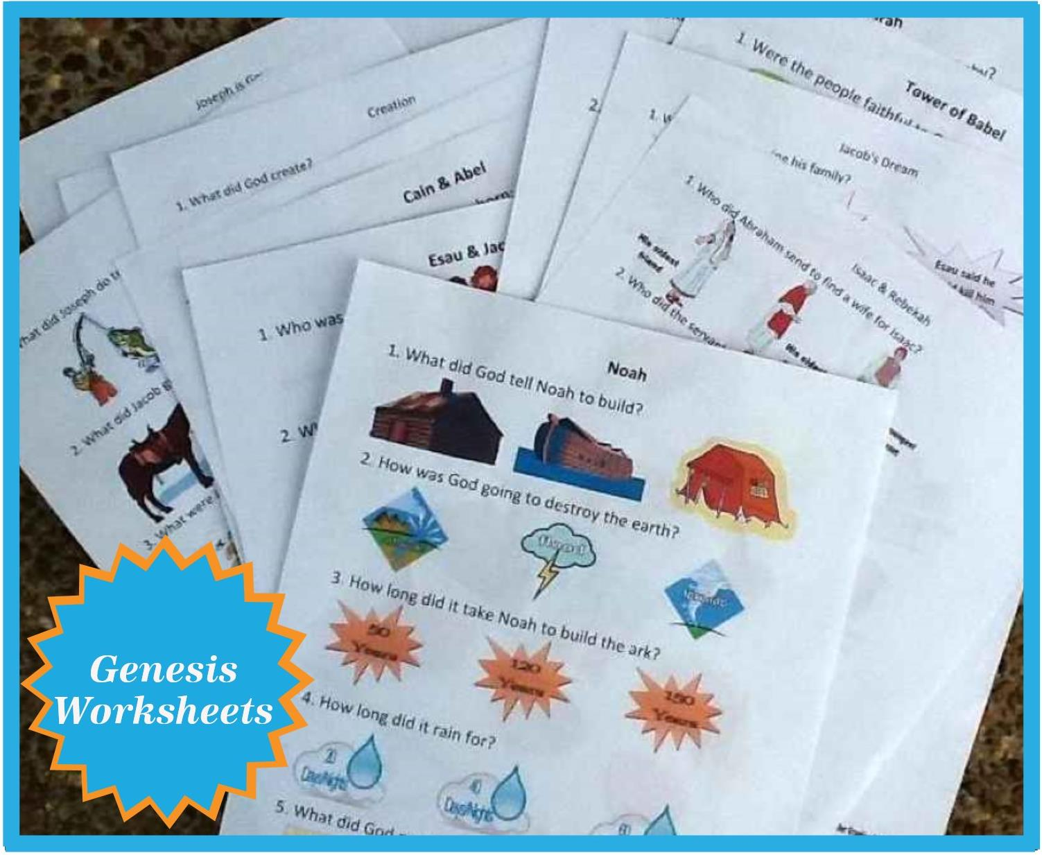 Bible Fun For Kids Genesis Worksheets
