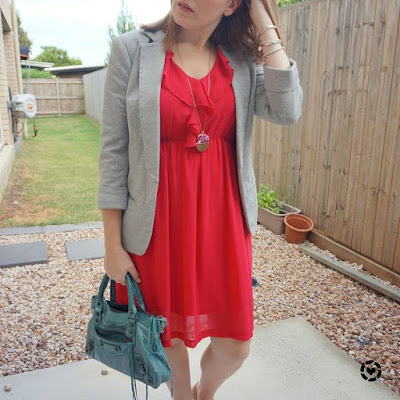 awayfromblue Instagram | grey jersey blazer with berry ruffle dress teal bag colourful autumn office outfit