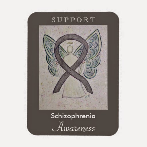 Support Schizophrenia Awareness Ribbon Silver Angel Art Personalized Magnets Gifts