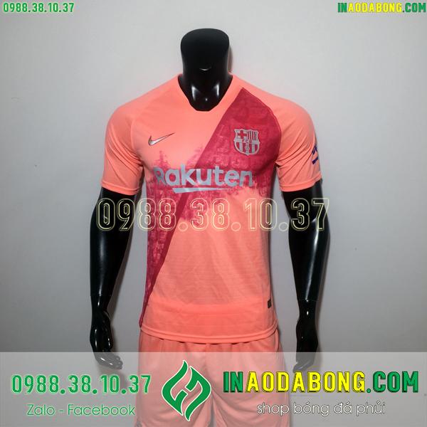 Áo bóng đá câu lạc bộ Barcelona màu hồng cam