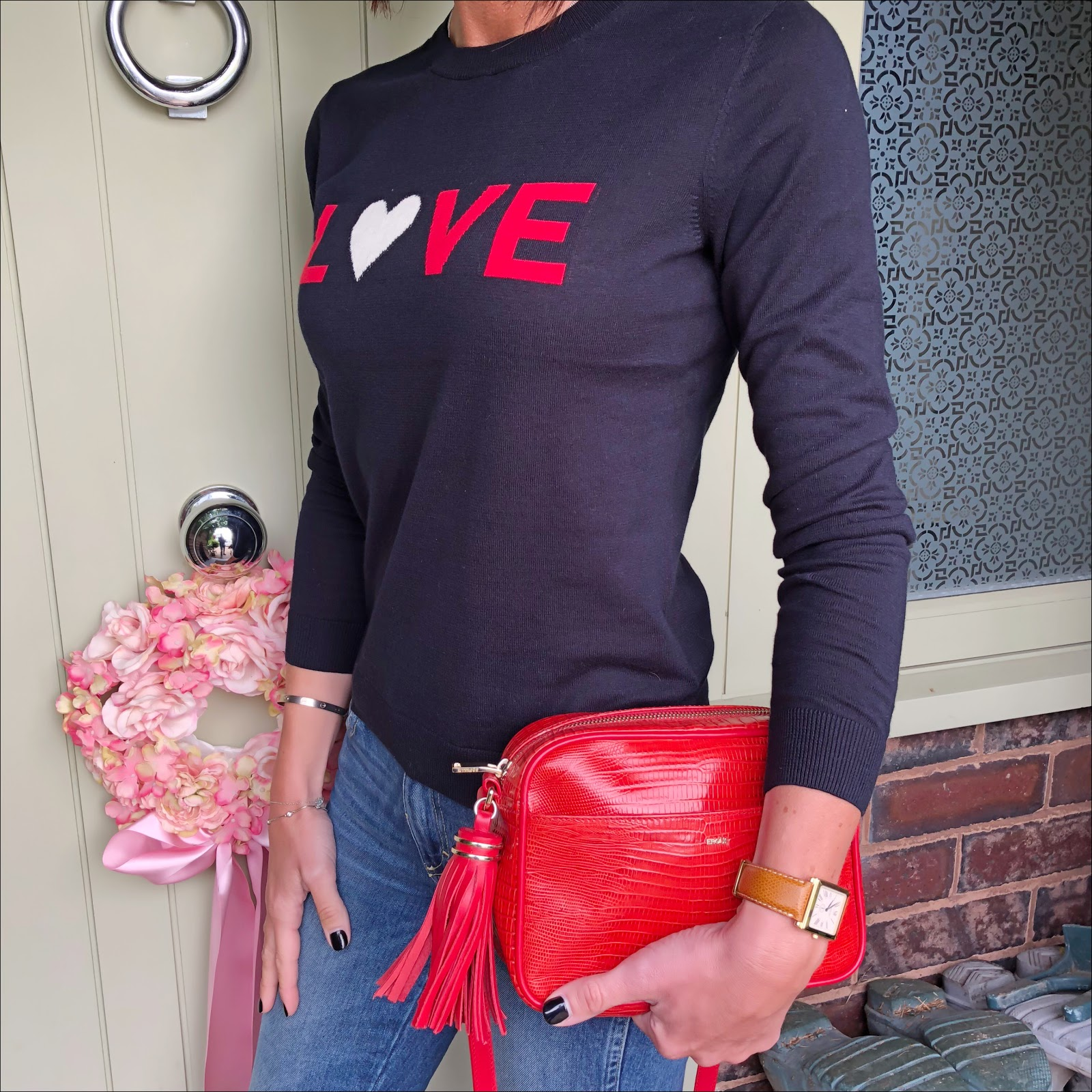 my midlife fashion, whistles love logo jumper, j crew cropped kick flare jeans, j crew pointed suede tassel flats, uterque mock croc crossbody bag