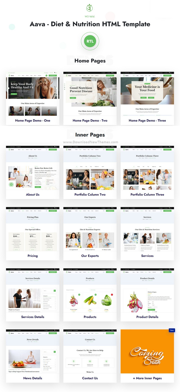 Diet and Nutrition HTML Template