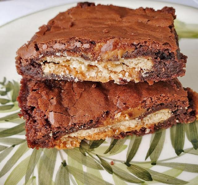 Peanut Butter Cracker Stuffed Brownies