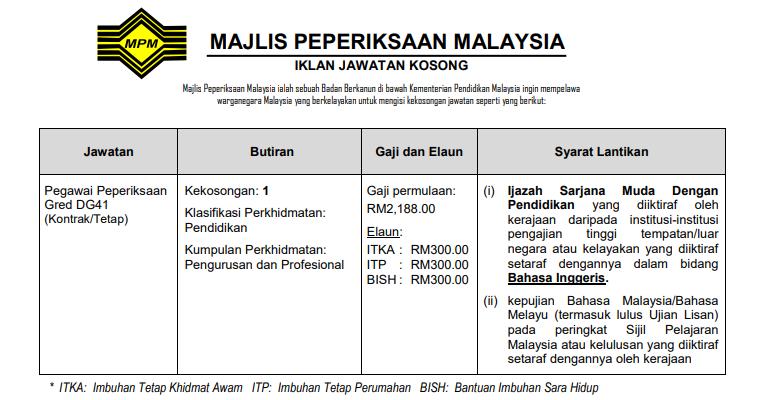 Jawatan Kosong Majlis Peperiksaan Malaysia MPM - JOBCARI ...