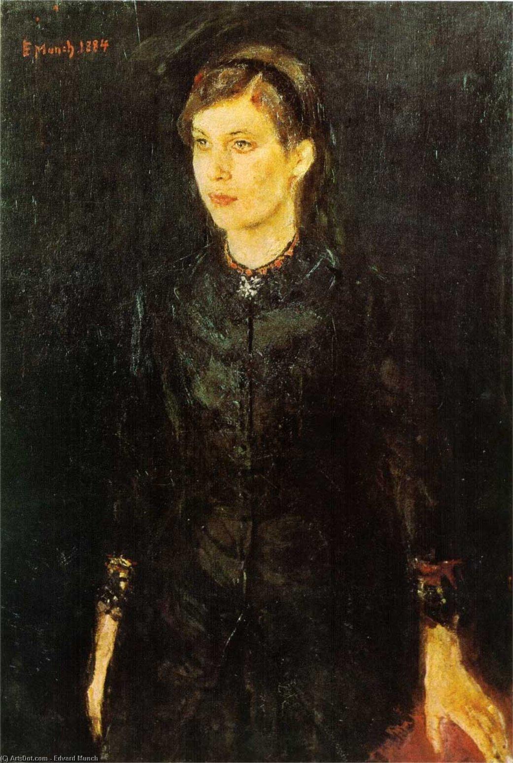 Retrato de Inger. Edvard Munch. 1884, Óleo sobre lienzo, 97x67 cm. Oslo, Galería Nacional.