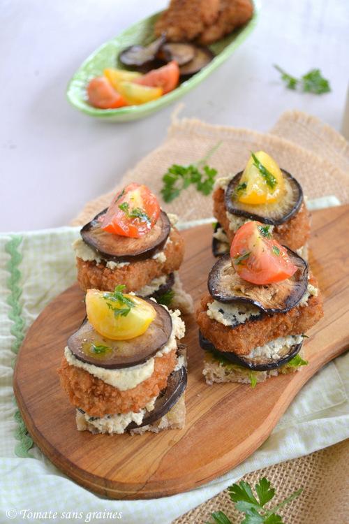 Mini burgers végétaliens aux nuggets de soja