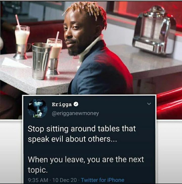 Rapper Erigga urges fans to Stop sitting around tables that talk bad about others