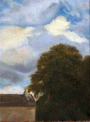 Katherine Kean, Sky Gazing Behind Lindsayland, contemporary landscape painting, Scotland, clouds, sky, tree, small