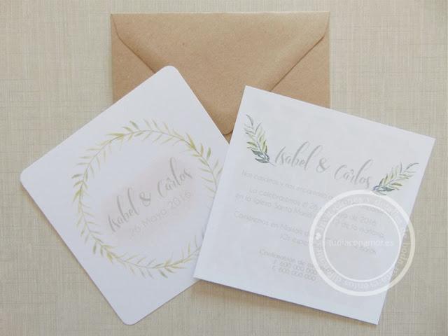 Bonitas invitaciones de boda sencillas y románticas con dibujos de acuarela
