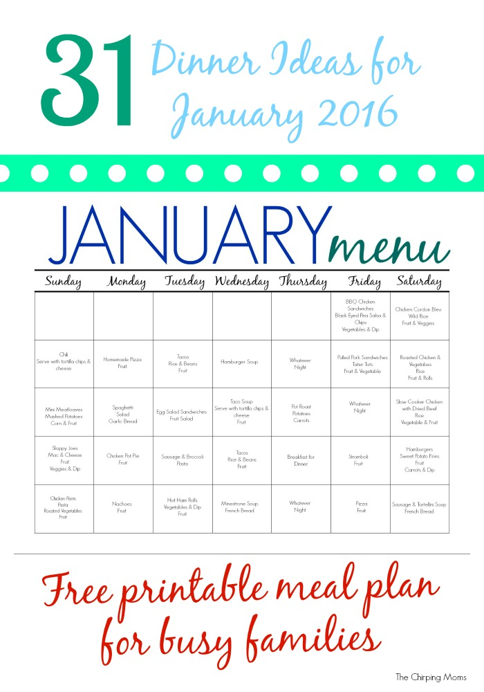 31 Days of Dinners A Meal Plan for January (Free Printable) - The