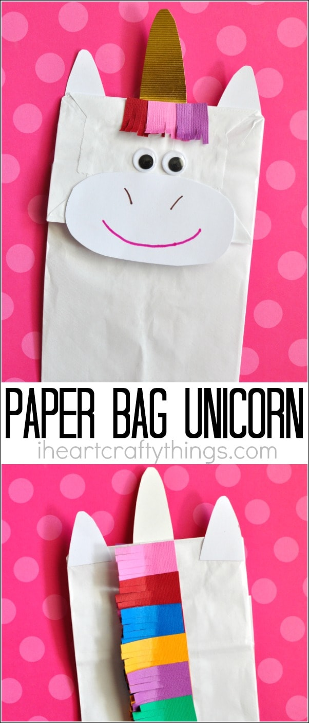 How to make a unicorn puppet craft from a lunch sack