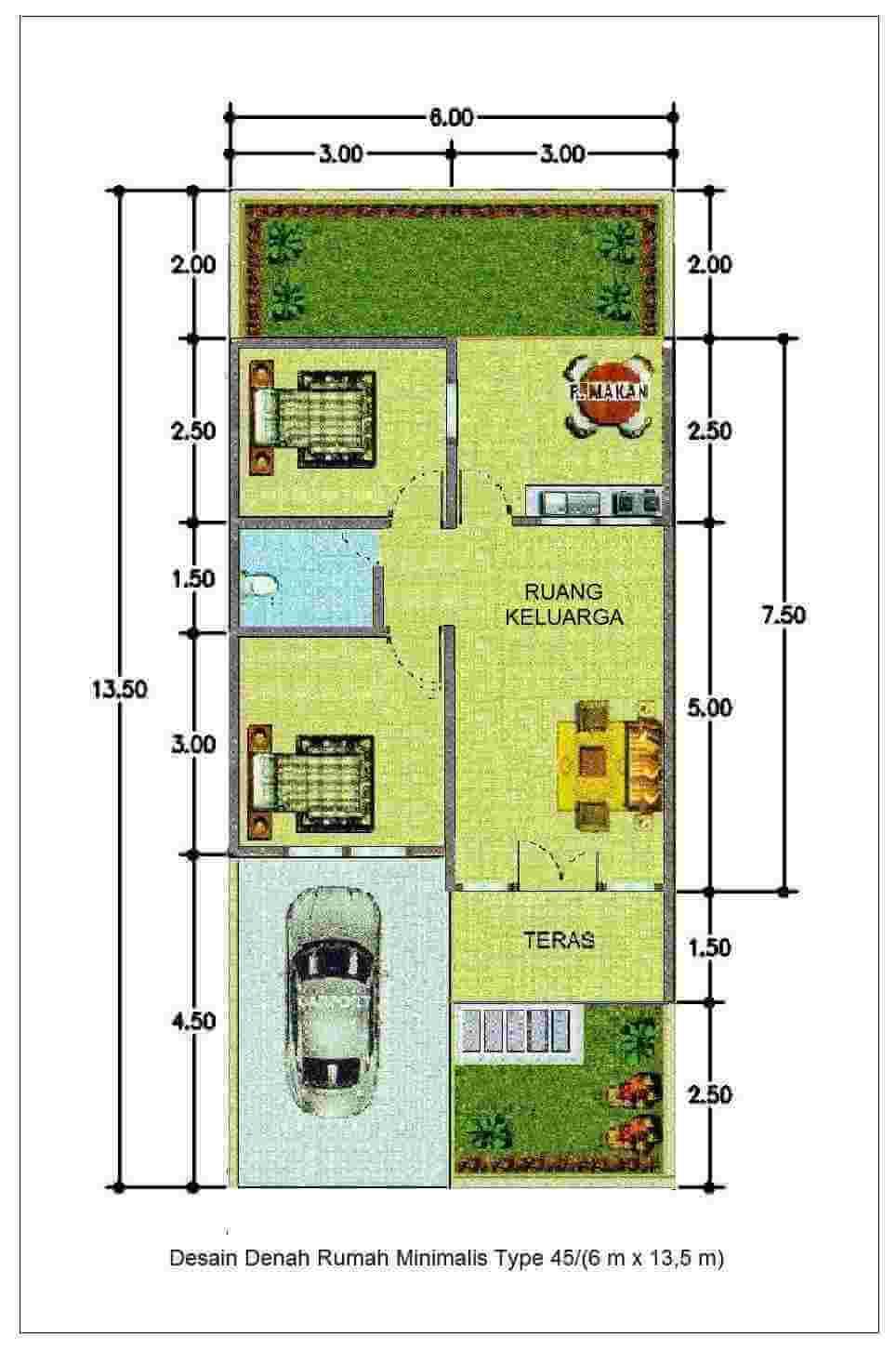 Denah Desain Rumah Memanjang Ke Belakang dengan Rincian Ukuran Rumah Type 45