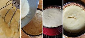 Cheesecake mit Marzipanboden und Jostabeeren - Zubereitung Frischkäse-Schokolade-Füllung