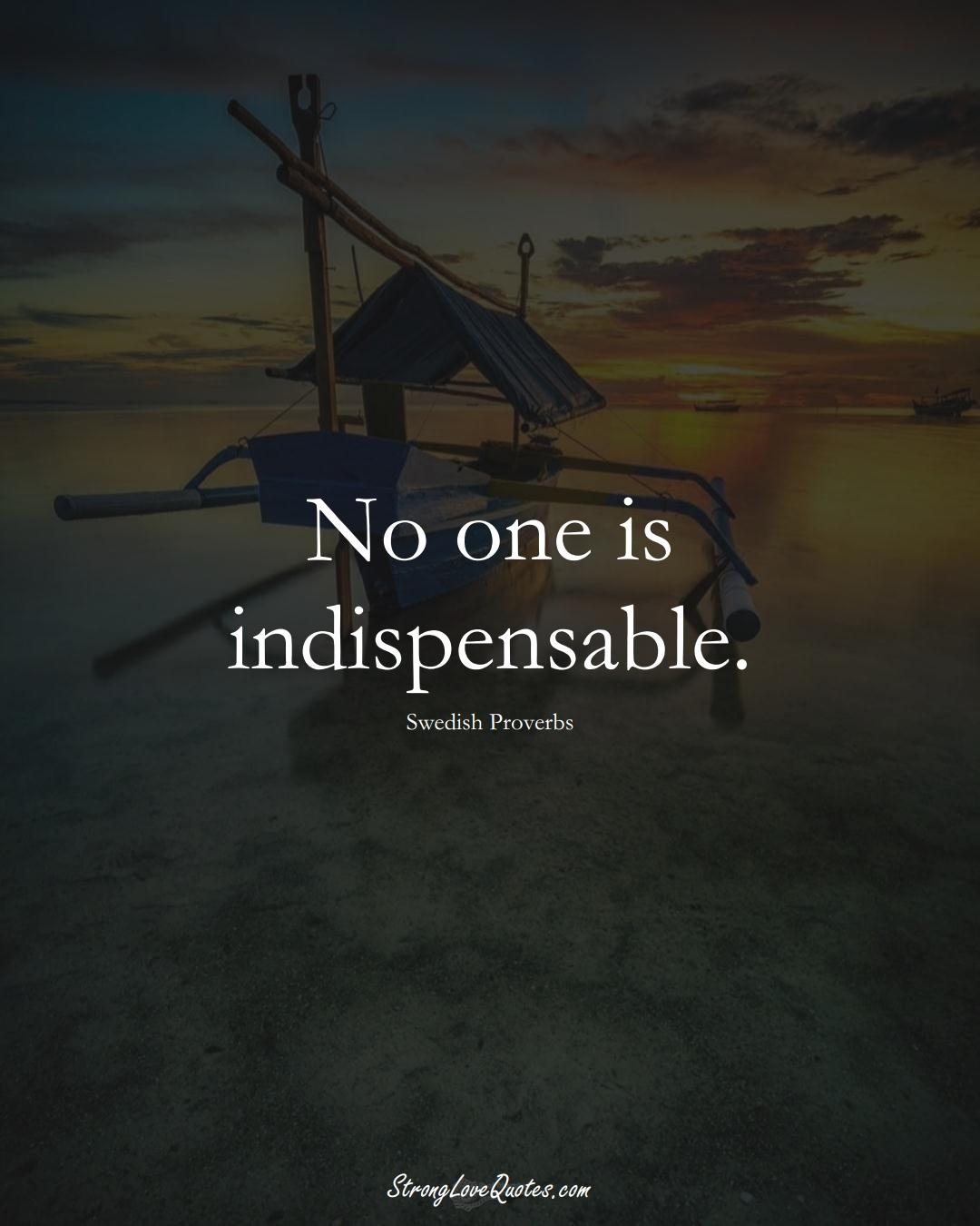 No one is indispensable. (Swedish Sayings);  #EuropeanSayings