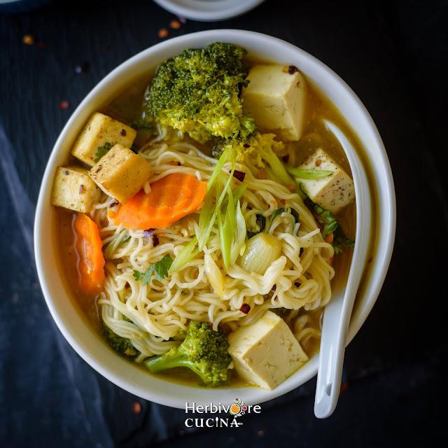Instant Pot Ramen Soup top view of bowl