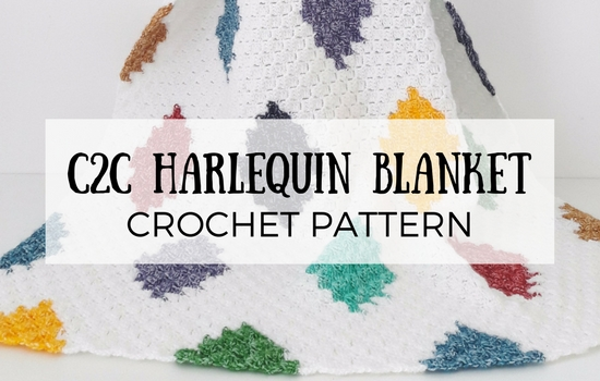 C2C Harlequin Blanket, crochet pattern | Happy in Red