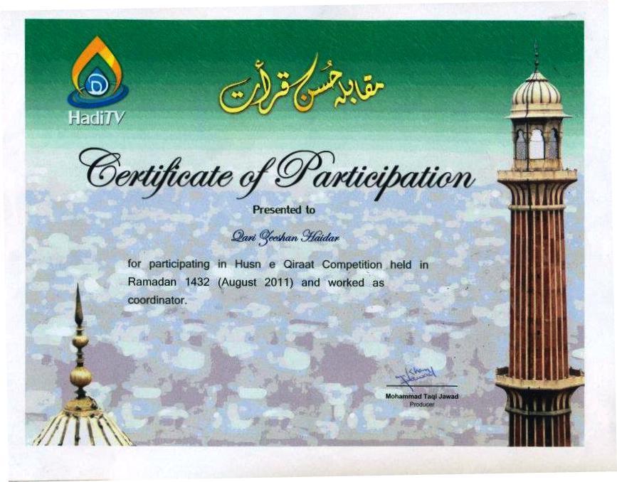Best Tv Service >> QARI MUHAMMAD ZEESHAN HAIDER : Certifications
