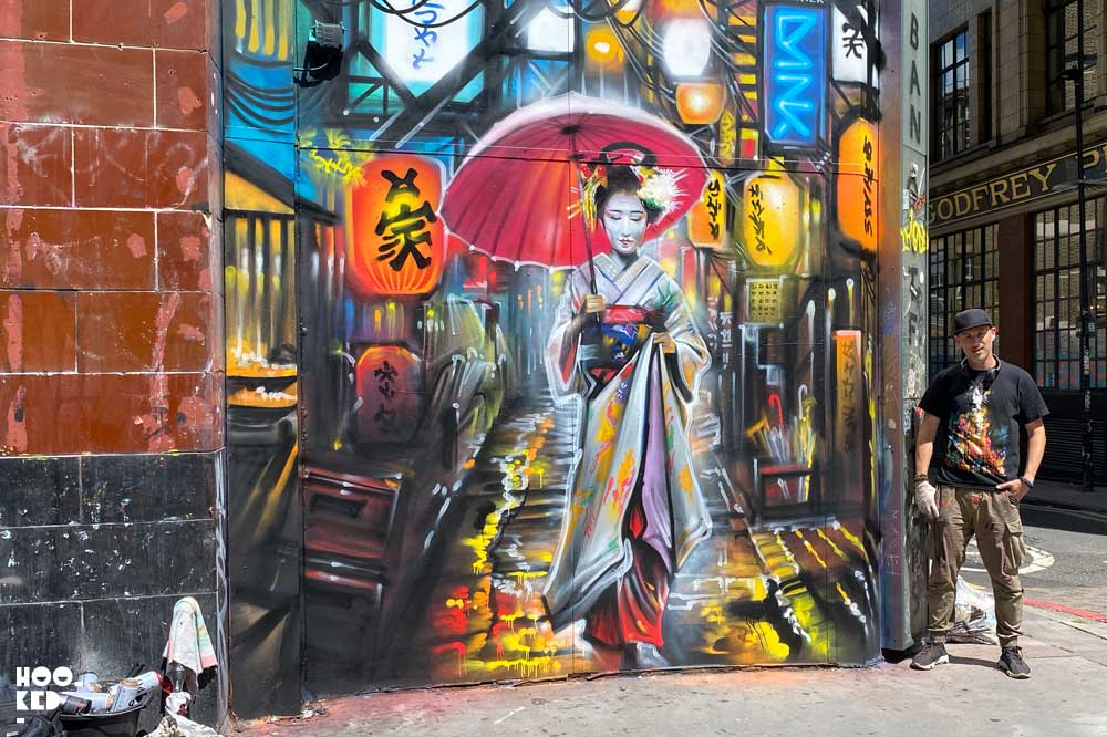 Dan Kitcheners Beautiful Geisha Street Art on Commercial Street, London