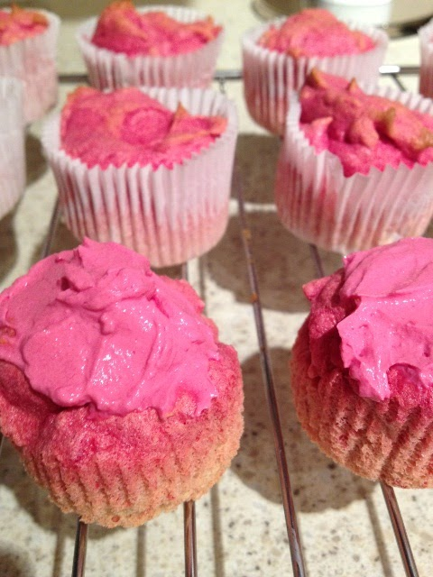 Pink cupcakes made with beets