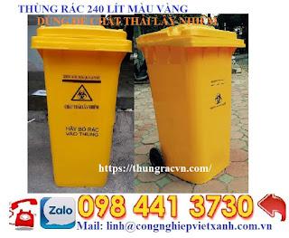 thùng rác nhựa 120 lít vàng