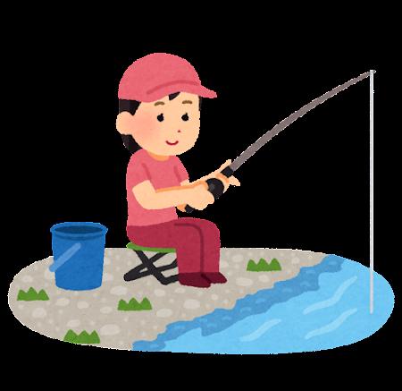 魚釣りをしている女性のイラスト(川)