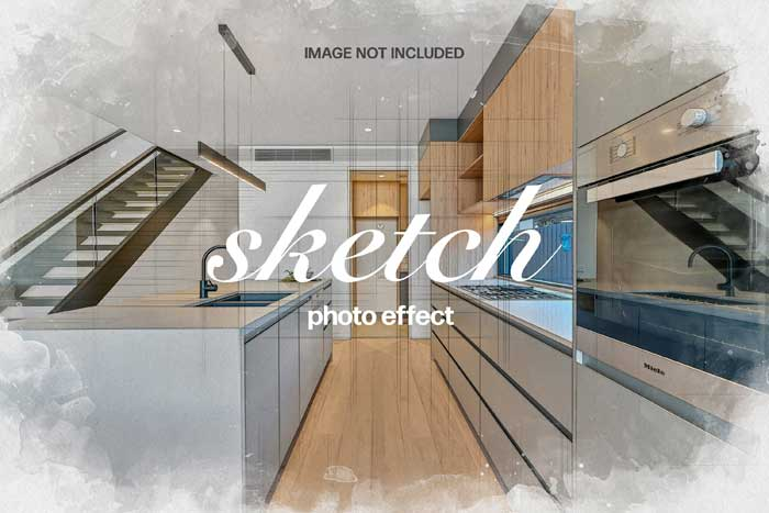 Sketch Phpto Effect PSD Mockup
