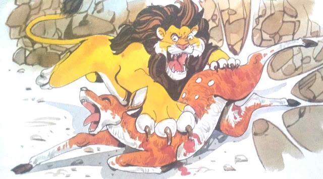 शेर की गुफा में हिरण short moral story in hindi for class 1