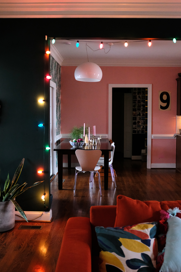 Add Christmas cheer with twinkly lights- design addict mom