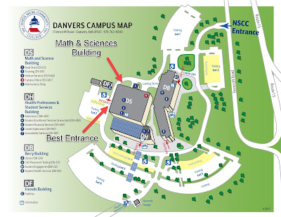 A map of the Danvers Campus of North Shore Community College