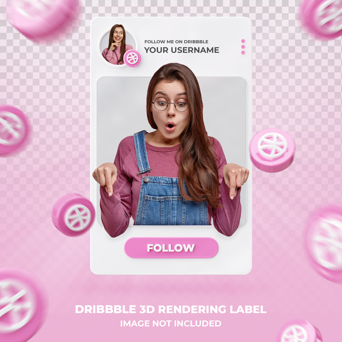 Banner Icon Profile Dribbble 3D PSD Rendering Label Template