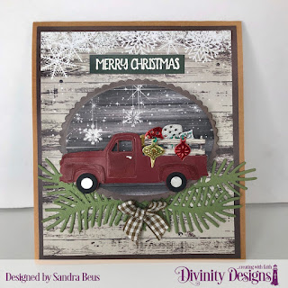 Custom Dies: Pickup Truck, Pinecones & Pine Branches, Mini Lights & Ornaments, Scalloped Ovals, Ovals,  Paper Collection: Rustic Christmas