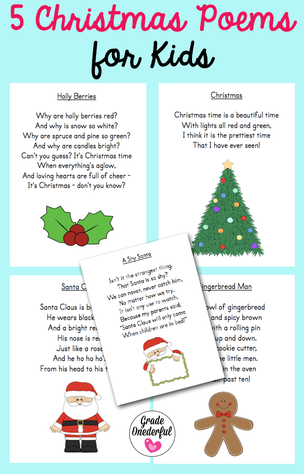 5 free Christmas poems. Perfect for kids in Grades K to 2. Instant download!