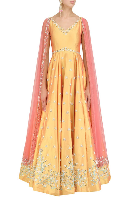 Top Anarkali Salwar Trend For Diwali cape sleeves