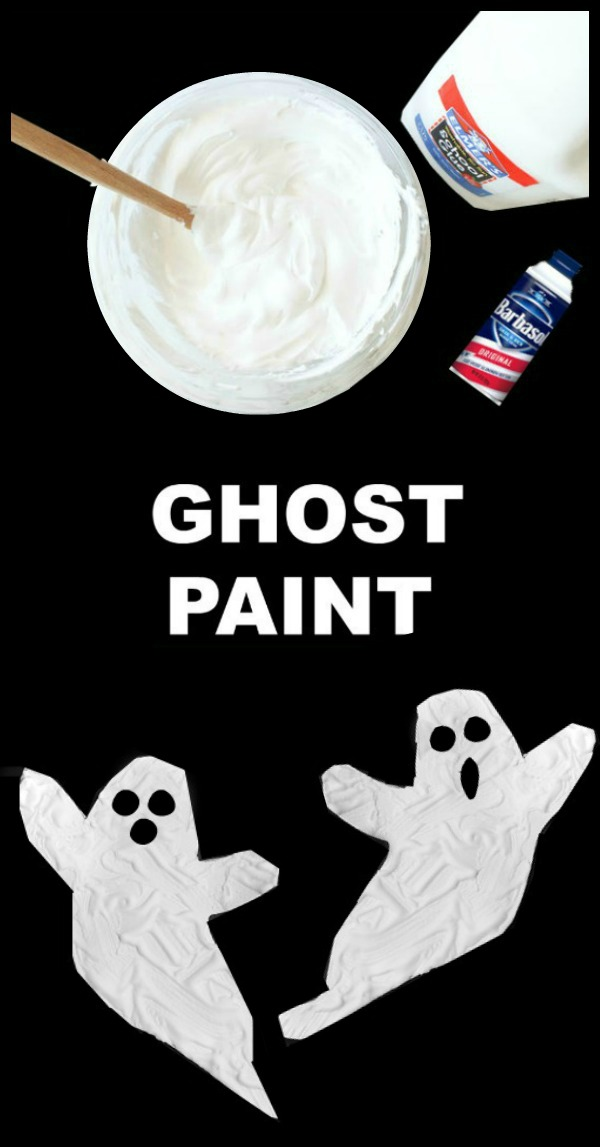 "GHOST PAINT: Icy-cold paint for kids that dries puffy & raised!  ""SO COOL"" #halloweencrafts #ghostcraftsforkids #ghostpainting #ghostpaintkids #ghostpaintforkids #craftsforkids #ghostcraftsforkids"