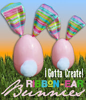 Ribbon ear bunnies from plastic eggs @  I Gotta Create!
