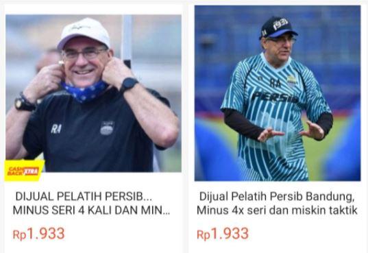 Bobotoh Iseng, Pelatih Persib Dijual di Toko Online