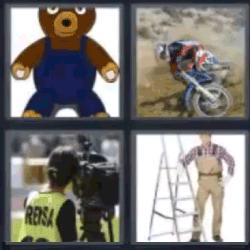 4 fotos 1 palabra oso de peluche moto mujer filmando con cámara tv