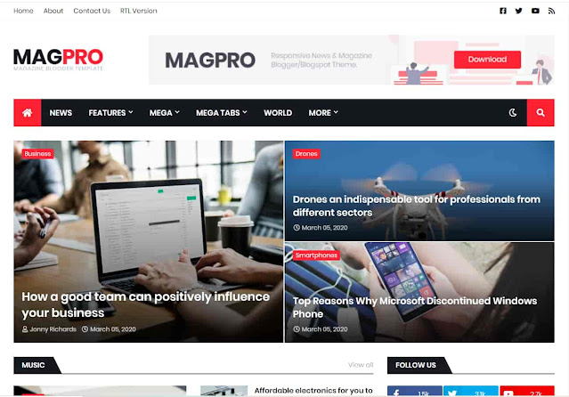 MagPro - Responsive News & Magazine Blogger Template